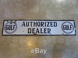 Vintage Porcelain GULF Dealer Gas Station Sign Antique Auto Oil Service 8268