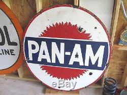 Vintage Porcelain Pan Am Oil Double Sided 42 Super Rare Version
