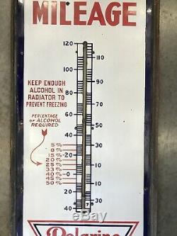 Vintage Porcelain RED CROWN THERMOMETER Sign Gas Oil Gasoline Polarine ISO-VIS