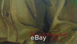 Vintage Portrait Oil Painting Military Gentleman Man Signed Listed Artist