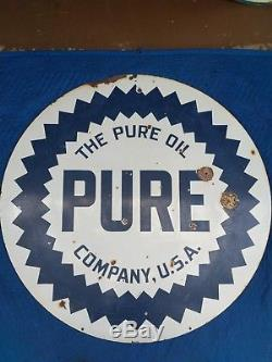 Vintage Pure Oil Porcelain Double Sided Sign 42 Burdick