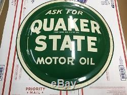 Vintage Quaker State Motor 1954 Oil Sign Round Bubble Metal 24 Button Disk