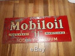 Vintage RARE Mobil H Oil Socony Vacuum Gas Station Advertising SIGN Pegasus