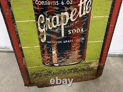 Vintage RARE Vertical Grapette Bottle GRAPE Soda Drink Sign 13 x 39 GAS OIL CO