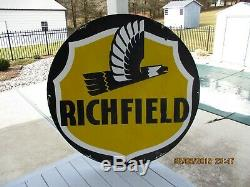 Vintage RICHFIELD Double sided 58 1/2 inch Porcelain Gas and Oil Dealers Sign