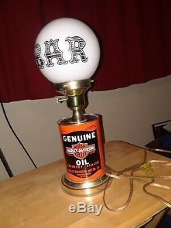 Vintage Rare 1982 Harley Davidson Oil Can Lamp Beer And Bar Light Sign Shovel