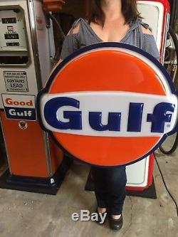 Vintage Rare GULF OIL GAS SIGN LIGHTED Original NOS IN BOX! WORKS!