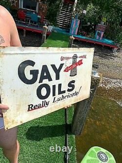 Vintage Rare Gay Oil Co Metal sign auto gas With lighthouse 24in Little Rock AR