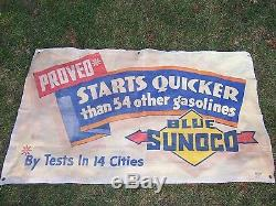 Vintage Rare Sunoco Gas & Oil Advertising Banner Sign Gas Service Station Old