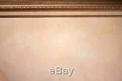 Vintage Reclining Nude Female Oil Painting on Canvas, Illegibly Signed, NICE
