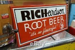 Vintage Richardson Root Beer Soda Pop Gas Oil 36 Embossed Metal SignNice