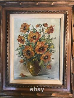 Vintage Rimeri Still-Life With Flowers Oil Painting Signed And Framed