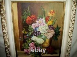 Vintage Roses Floral Oil Painting Study Flanders School Ornate Frame Stunning