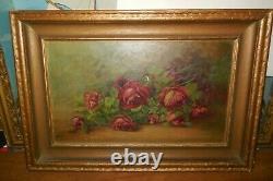 Vintage Roses On Table /oil On Canvas/gold Framed/25 X18/ Signed L. M. Miller