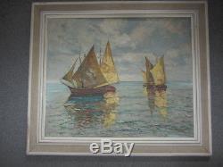 Vintage Russian Marine Oil Painting Sailing Boats Signed Koscaya