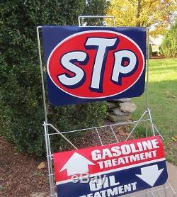 Vintage STP OIL CAN RACK HOLDER SERVICE STATION DISPLAY SIGN