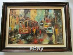 Vintage San Francisco Painting By Kern Expressionism Abstract City Urban Mod