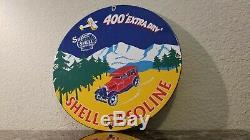 Vintage Shell Gasoline Porcelain Gas Auto Motor Oil Service Station Pump Sign