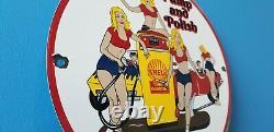 Vintage Shell Gasoline Porcelain Gas Oil Service Pump And Polish Car Wash Sign