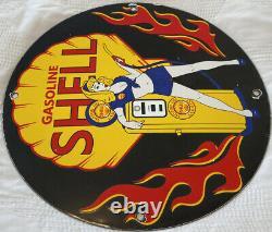 Vintage Shell Gasoline Porcelain Sign, Gas Station, Pump Plate, Motor Oil