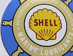 Vintage Shell Marine Gasoline Porcelain Sign Gas Station Motor Oil