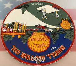 Vintage Shell Motor Oil Porcelain Sign Gas Station Pump Plate Golf Pebble Beach