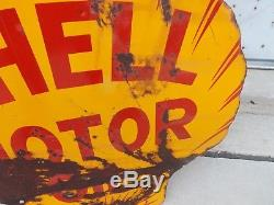Vintage Shell Oil Double Sided Porcelain Sign Clamshell GAS SODA 25 x 24
