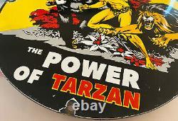 Vintage Signal Gasoline Power Of Tarzan Porcelain Sign Gas Station Motor Oil