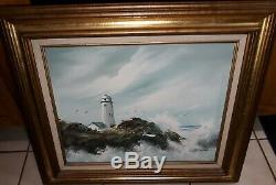 Vintage Signed Framed Oil on Canvas Lighthouse Stormy Seascape Nautical Painting