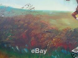 Vintage Signed Hale English Equestrian Fox Hunting Hunt Scene Painting On Canvas