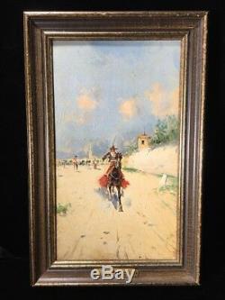 Vintage Signed L. Ruiz Oil Painting Mexico Spain Vaquero Caballero Gaucho