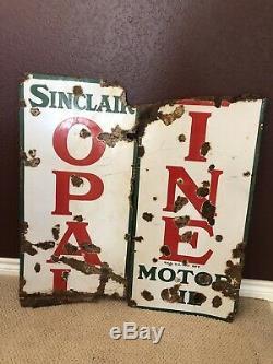 Vintage Sinclair Opaline Motor Oil Original Porcelain Sign 5x 15