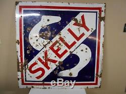 Vintage Skelly Double Sided Porcelain Gas Sign Oil Advertising