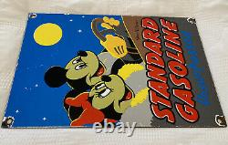 Vintage Standard Oil Porcelain Gas Station Sign Disney Mickey Mouse Motor Oil