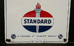 Vintage Standard Oil Porcelain Red Crown Pump Plate Gas Advertising Sign 1950