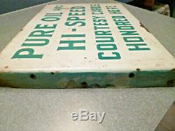 Vintage TWO-SIDED Pure Oil and Hi-Speed Courtesy Card Metal Sign RARE