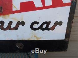 Vintage Texaco/Caltex METAL SIGN Let Us Marfak Your Car 2-Sided OIL SIGN
