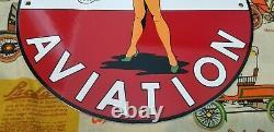 Vintage Texaco Gasoline Porcelain Airplane Military Gas Oil Service Station Sign