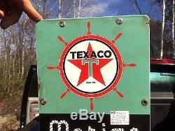 Vintage Texaco Marine White Gasoline Pump Porcelain Metal Sign Gas Oil Nautical