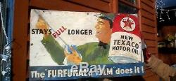 Vintage Texaco Motor Oil Gasoline Metal Sign With Gas Service Station Man Graphic