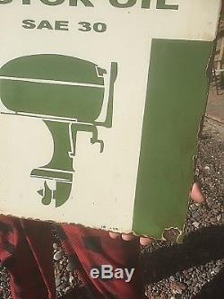 Vintage Texaco Motor Oil Outboard Gasoline Porcelain Metal Sign Gas W Boat Motor