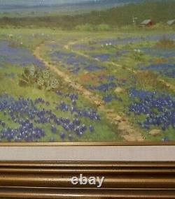 Vintage Texas Bluebonnet Oil Canvas Painting Signed PORFIRIO SALINAS Rare