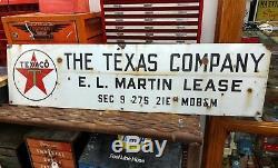 Vintage The Texas Company Texaco Porcelain Oil Well Lease Gas Sign