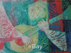 Vintage Tryptich Painting Abstract Expressionism Cubism Musicians Signed MCM