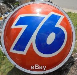 Vintage Union 76 Oil Company 1960's Gasoline Service Station Sign 6' Round WithCan