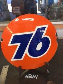 Vintage Union 76 porcelain sign gas oil pump plate