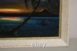 Vintage Velvet Art Signed Original Beach Pacific Island Sunset Tropical Tiki