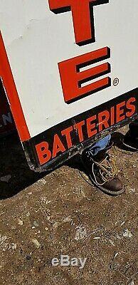 Vintage Vertical Ford Autolite Batteries Metal Sign Gas gasoline Oil 60X18