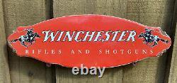 Vintage Winchester Porcelain Sign Door Plaque USA Oil Gas Station Rifle Shotgun