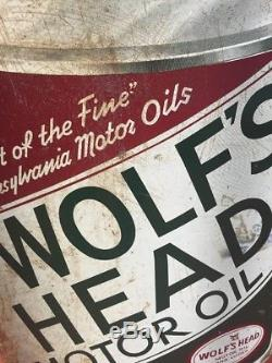Vintage Wolfs Head Oil Sign 2 Sided 24x36